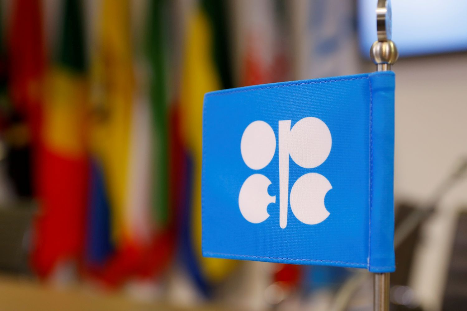 The Opec logo on a flag at the oil producer group's headquarters in Vienna in 2018. (Reuters photo)