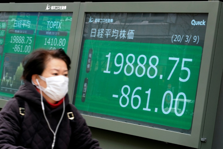 Equities in Tokyo plunge almost 6% as Asian markets are hammered by virus fears and a crash in oil prices.