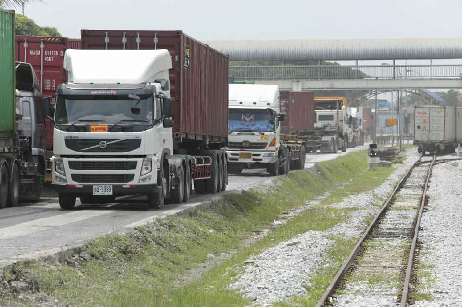 Trucks carry exports near the State Railway of Thailand's station at Padang Besar on the border with Malaysia. Thailand is a major agricultural producer for many countries around the globe. (Bangkok Post file photo)