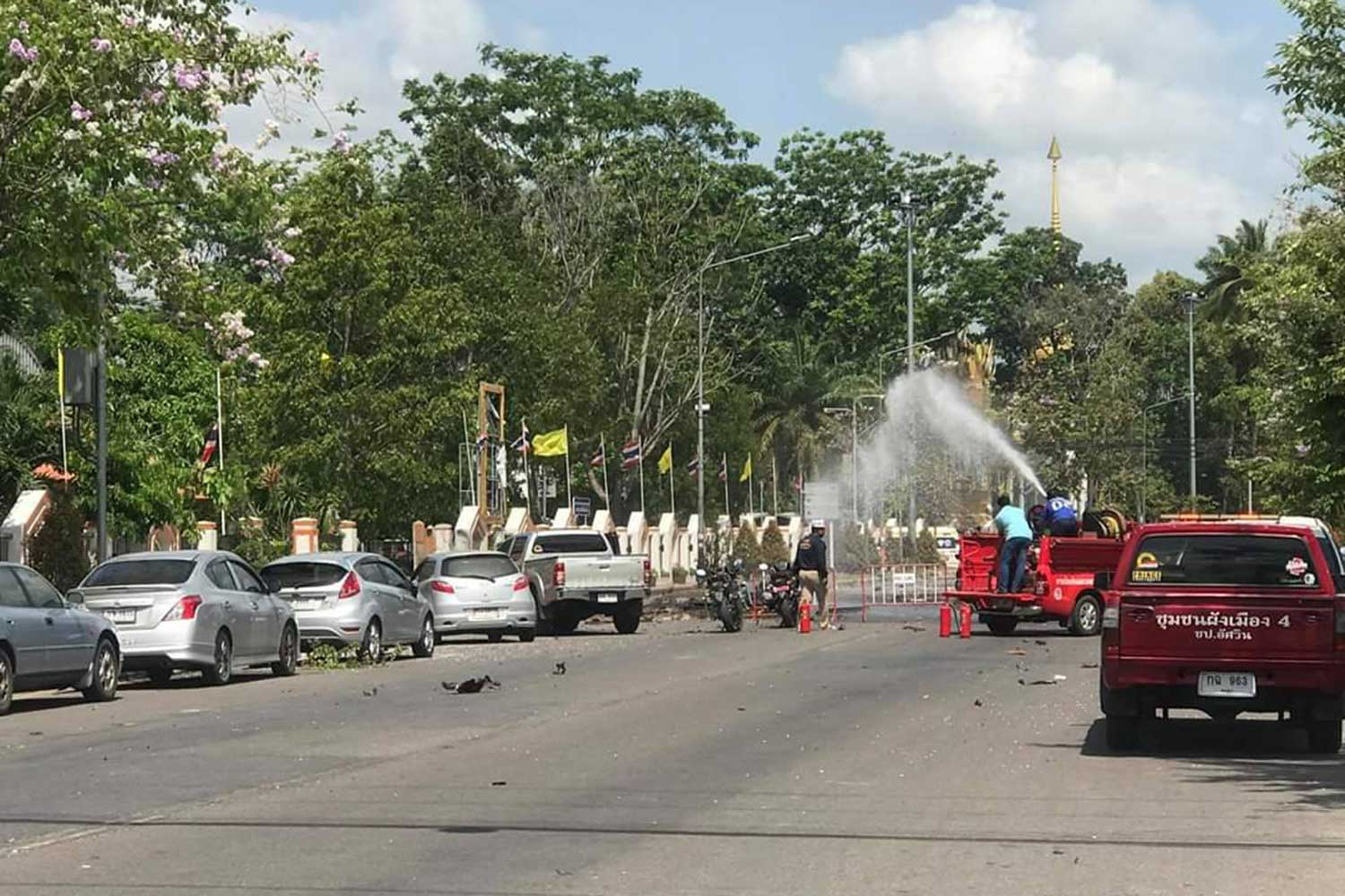 The scene outside the Southern Border Provinces Administrative Centre in Muang district of Yala province after two bombs, one concealed in a pickup, exploded there on Tuesday morning. Several people were injured - including police and reporters. (Photo supplied)