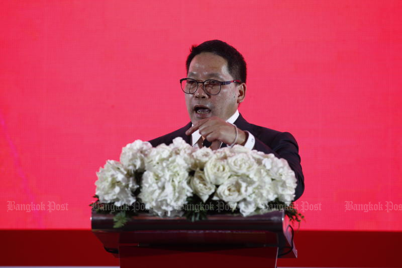 Finance Minister Uttama Savanayana is working from home for 14 days after a police officer assigned to work for him was infected with Covid-19. (Bangkok Post file photo)
