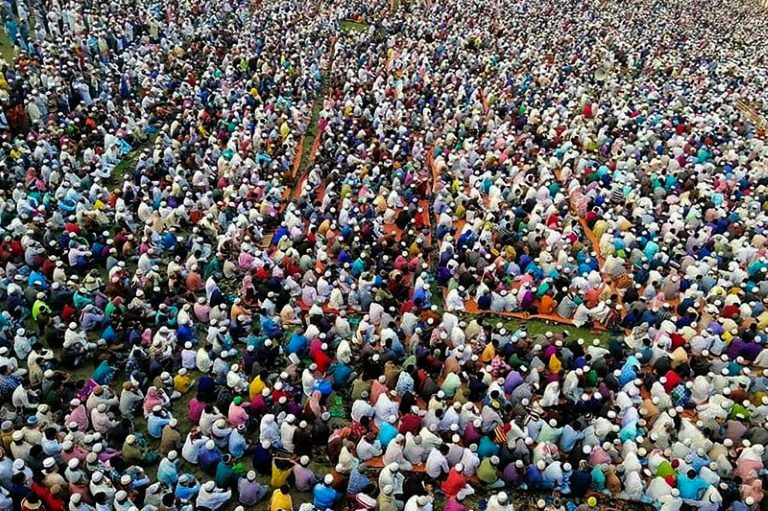 Police said some 10,000 Muslims gathered in an open field in Raipur town in southern Bangladesh to pray
