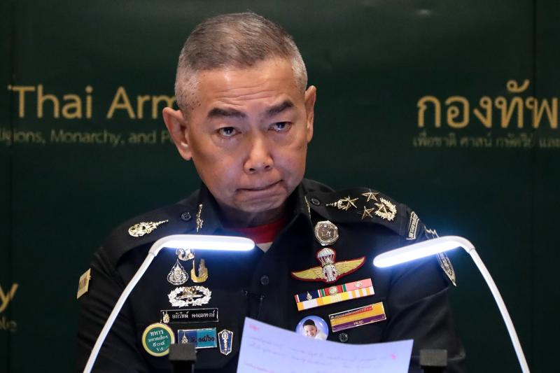 Royal Thai Army Commander-in-Chief Apirat Kongsompong reacts during a press conference in Bangkok on Feb 11, 2020, after a mass shooting incident in Nakhon Ratchasima. (AFP file photo)