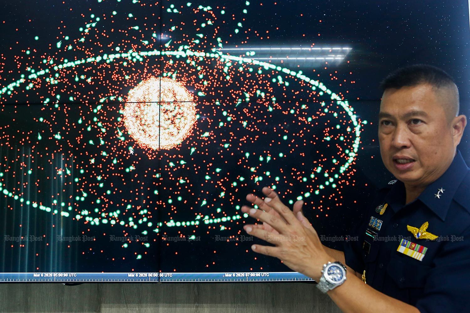 AVM Supijjarn Thamwatharsaree, chief of the newly established air force-based Space Operation Centre (Spoc), explains how Thailand's new satellite project will increase national security.(Photo by Pattarapong Chatpattarasill)