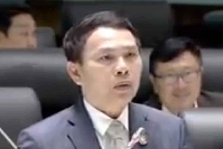 Pheu Thai MP for Khon Kaen Banlang Annopporn. (screenshot from Thai Parliament Television)