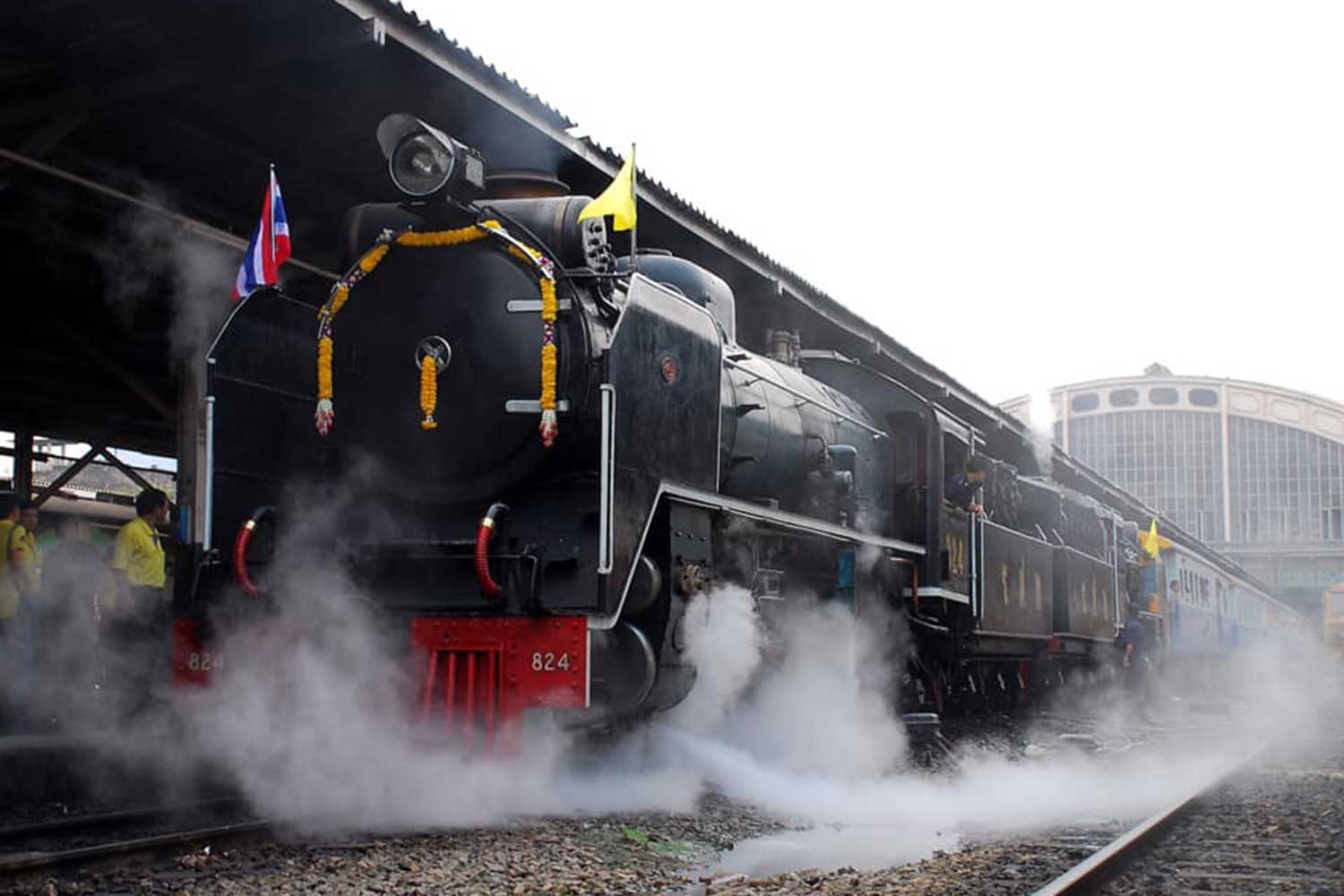 The State Railway of Thailand's 100-year-old steam locomotive. (Photo from @pr.railway Facebook page)