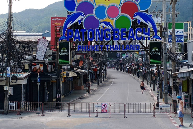 Soi Bang La in Patong area is closed as authorities fight the spread of the coronavirus on the resort island of Phuket. (Photo by Achadtaya Chuenniran)
