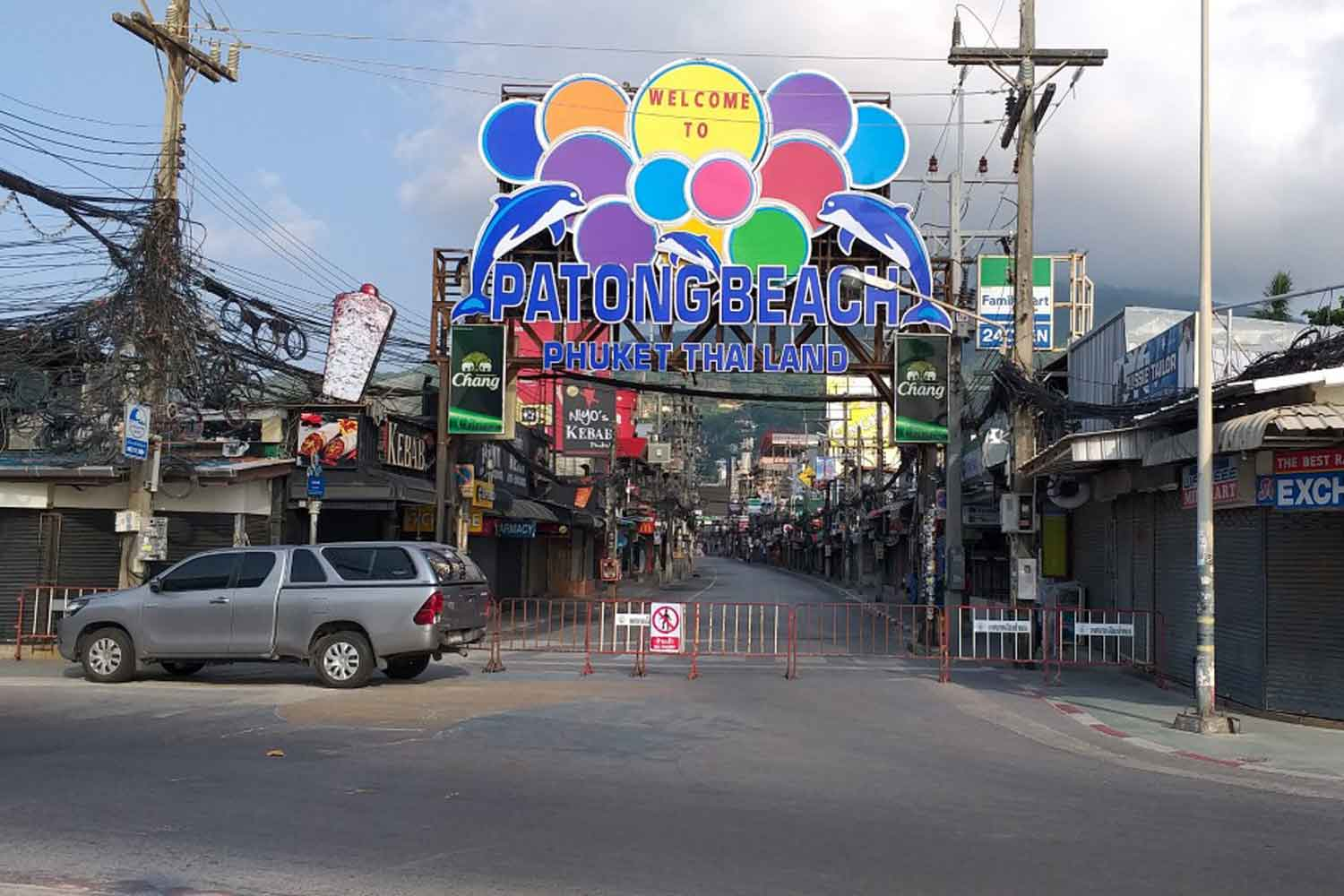 The tourist attraction is deserted in Phuket as the tourist island province is locked down to control Covid-19. (Photo: Achadtaya Chuenniran)