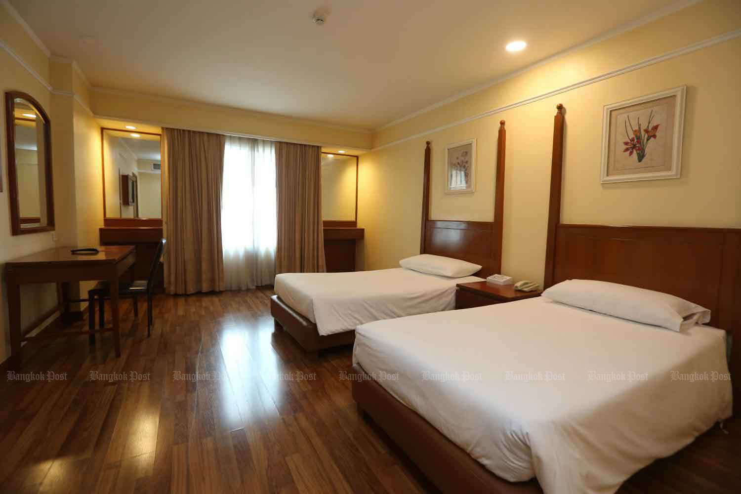 The interior of a room at the Palazzo Hotel on Ratchadaphisek Road in Bangkok. The hotel is being converted into a field hospital to care for mild-symptom coronavirus patients.Varuth Hirunyatheb