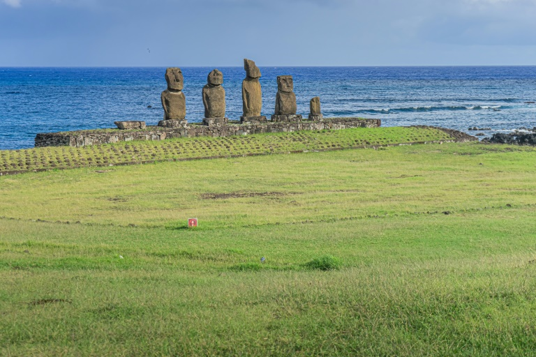 Easter Island is known for its human figure stone monoliths called moais.