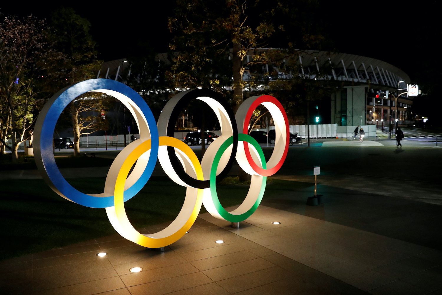 The Olympic rings are seen in front of the Japan Olympics Museum in Tokyo. (Reuters Photo)