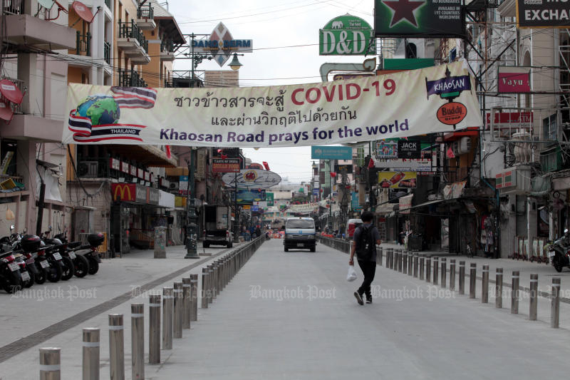 Khao San Raod is unusually quiet after the coronavirus outbreak hit Thailand. (Photo by Chanat Katanyu)