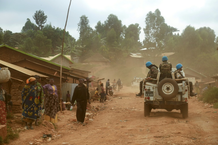 UN peacekeepers from Morocco carry out a patrol in the DR Congo in March 2020.