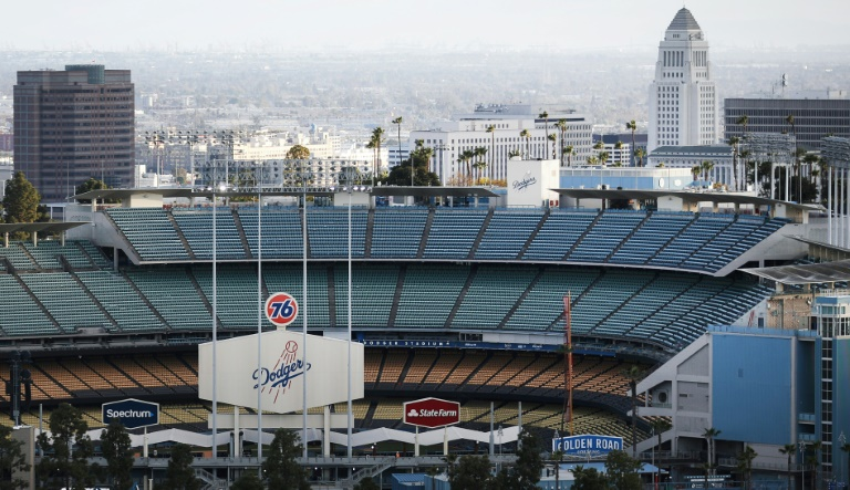 Dodger Stadium in Los Angeles remains empty with Major League Baseball shut down for the coronavirus, and most Americans in a new poll say they would be reluctant to attend future sports events until a vaccine is developed