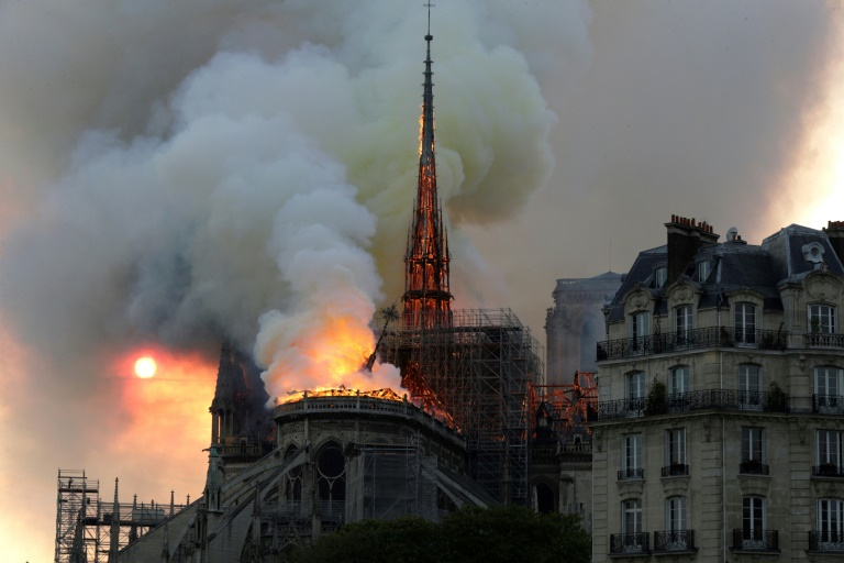 The fire ravaged the roof of the Notre-Dame Cathedral and toppled its spire.