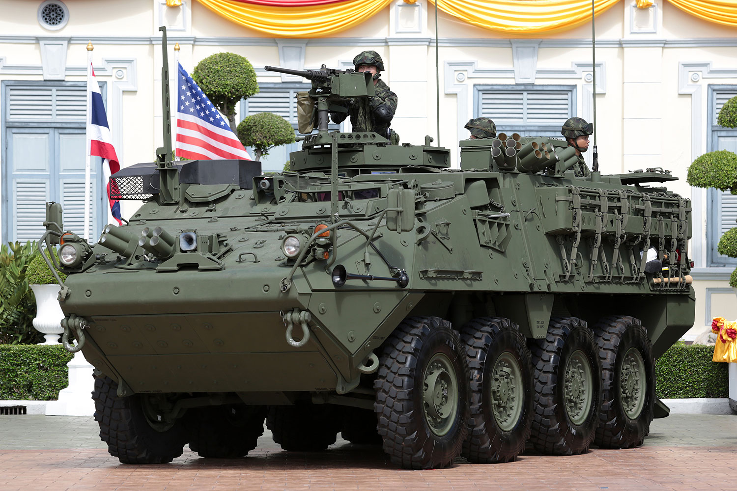 A Stryker armoured vehicle is displayed at the Royal Thai Army on Wednesday after the army received a batch of 10 of the 60 vehicles acquired from the US.