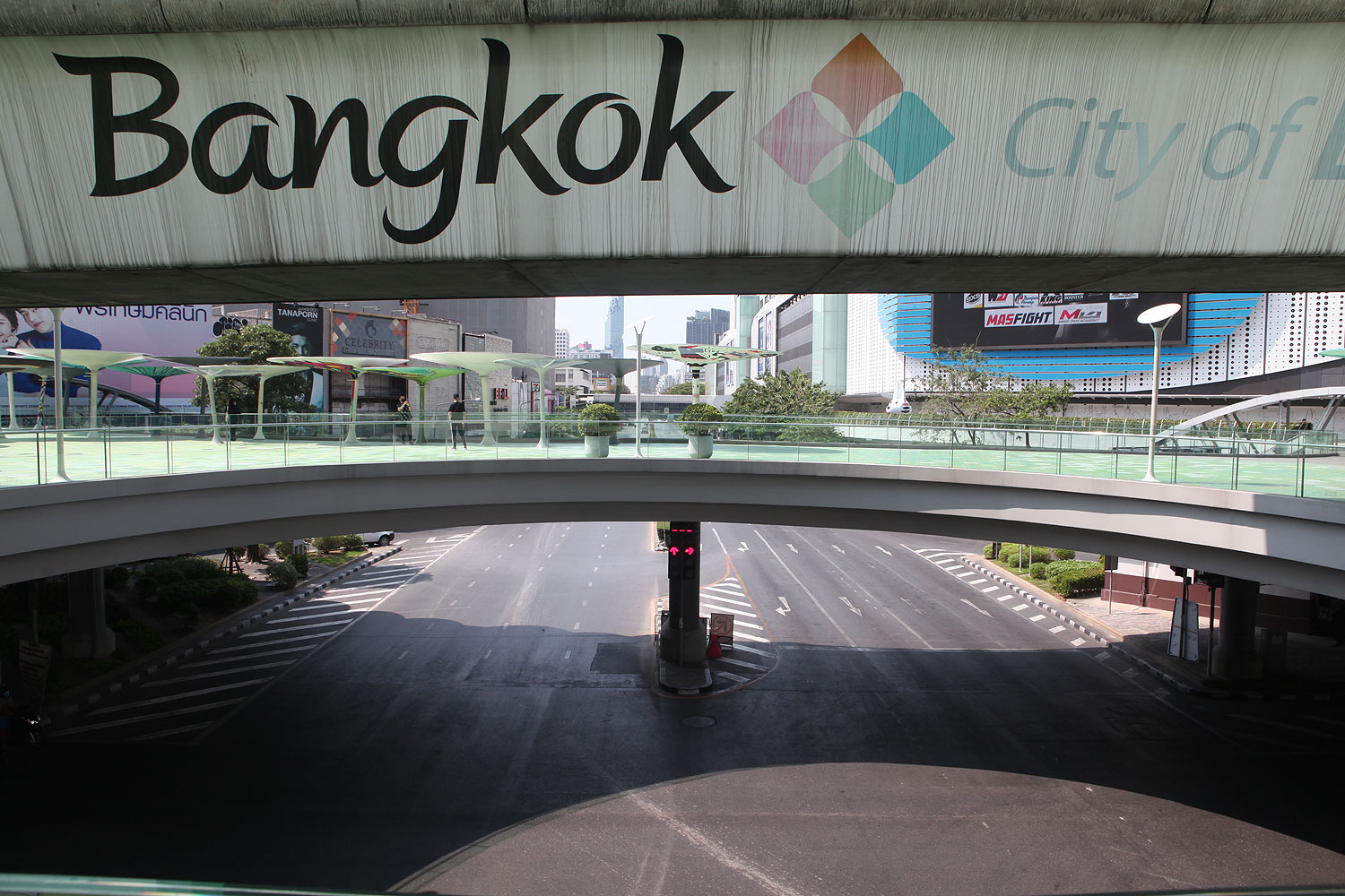 A view of the deserted Pathumwan intersection during the soft lockdown in the capital.Apichart Jinakul