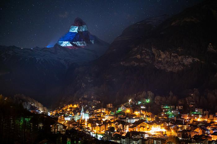 Thai Flag Lights Up Swiss Peak In
