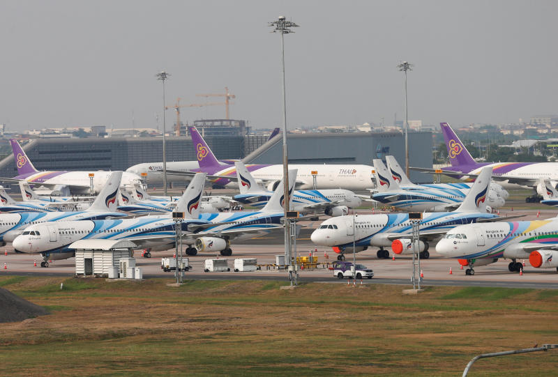 Thai Airways planes are seen at Suvarnabhumi Airport during the coronavirus disease outbreak in Bangkok, April 30, 2020. (Reuters file photo)