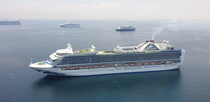 The M/V Ruby Princess is pictured during a short aerial surveillance conducted at the Manila Bay Anchorage area, in Manila, Philippines, on Thursday. (Philippine Coast Guard/Handout via REUTERS)