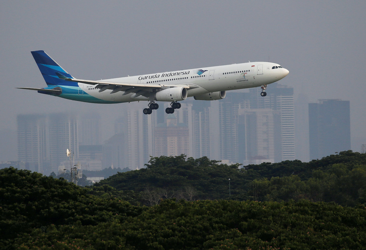 A Garuda Indonesia Airbus A330 prepares to land at Soekarno Hatta International Airport in Jakarta. (Reuters File Photo)