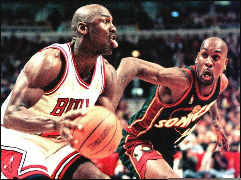 Michael Jordan during a game between Chicago and Seattle in March 1997.