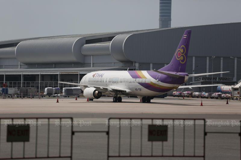 Thai Airways International will further suspend international routes until at least June 30. (Bangkok Post photo)