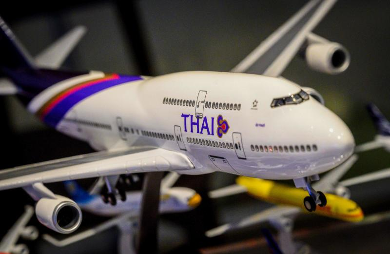 This photograph taken on Monday shows a Thai Airways plane model for sale at a shopping mall in Bangkok. (AFP)