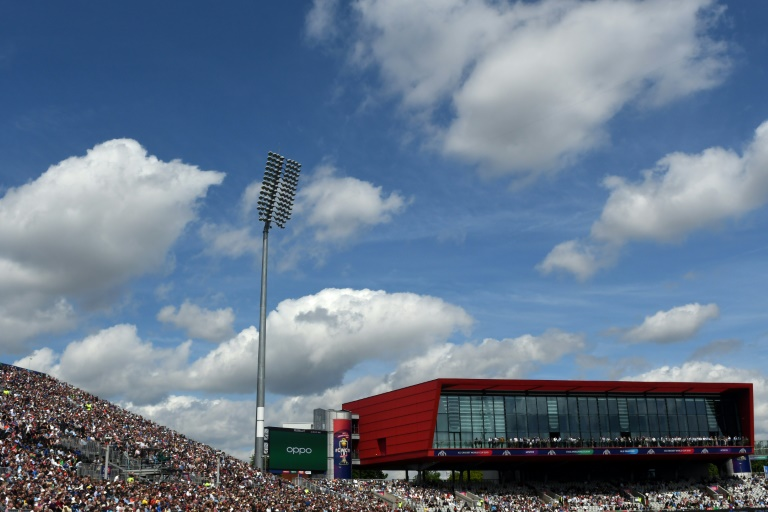 Fans watch a match between England and Afghanistan at Old Trafford during the 2019 Cricket World Cup
