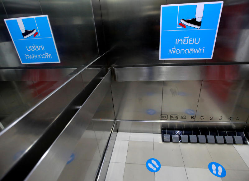 Modified lift switches are seen at Bangkok's Seacon Square mall amid the coronavirus disease  outbreak, on Wednesday. (Reuters photo)
