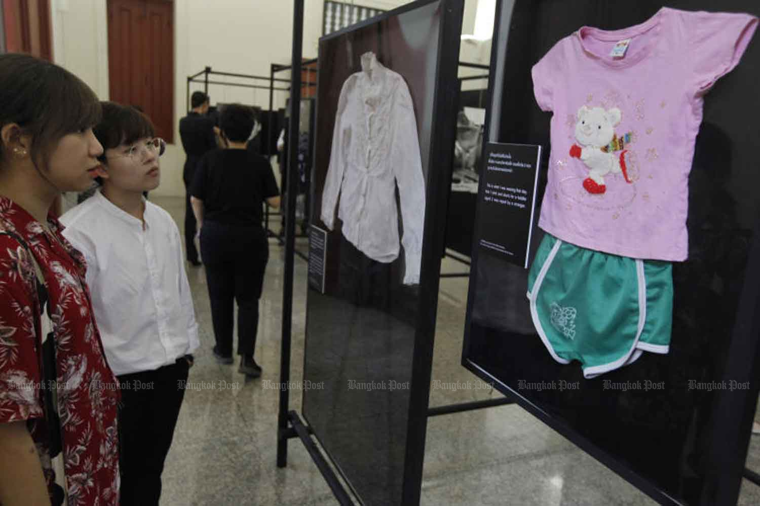 The clothes of some rape victims are displayed in an exhibition against sexual harassment in Bangkok last year. (Photo: Wichan Charoenkiatpakul)