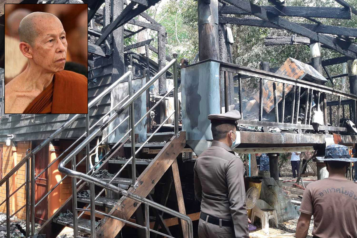 Police examine the scene of the blaze that claimed the life of Phra Ajarn Sudjai Thanthamano, who had served as the abbot of Wat Pa Ban Tad since the passing of the revered Luangta Maha Bua in 2012. (Photo: Yuttapong Kamnodnae)