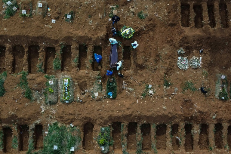 Aerial picture showing gravediggers burying an alleged Covid-19 victim at the Vila Formosa Cemetery, in the outskirts of Sao Paulo, Brazil.