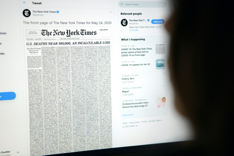 Nytimes Marks Grim Us Virus Milestone With Front Page Victim List