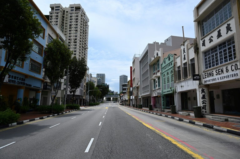 Empty streets in Singapore as people stay at home to curb the spread of the coronavirus.