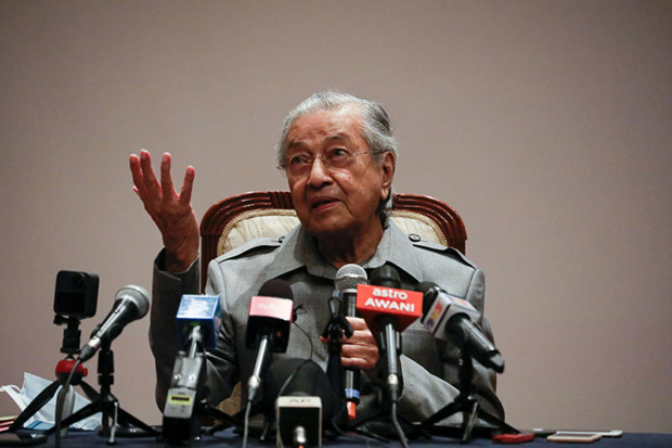 Malaysian former prime minister Mahathir Mohamad speaks during a news conference in Putrajaya on May 18, 2020. (Reuters photo)