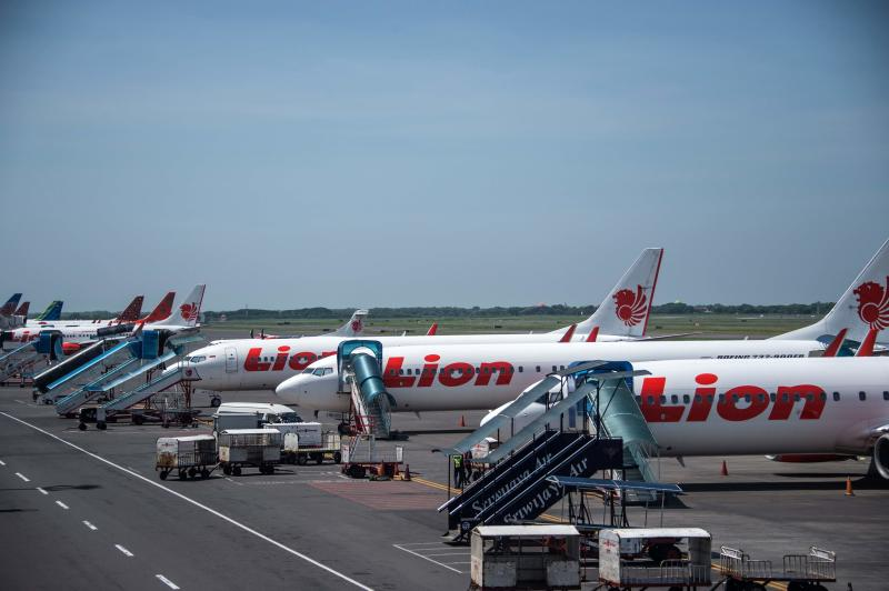 Lion Air aircraft are parked on the tarmac at Juanda International airport in Surabaya, East Java on April 24, 2020. (AFP photo)