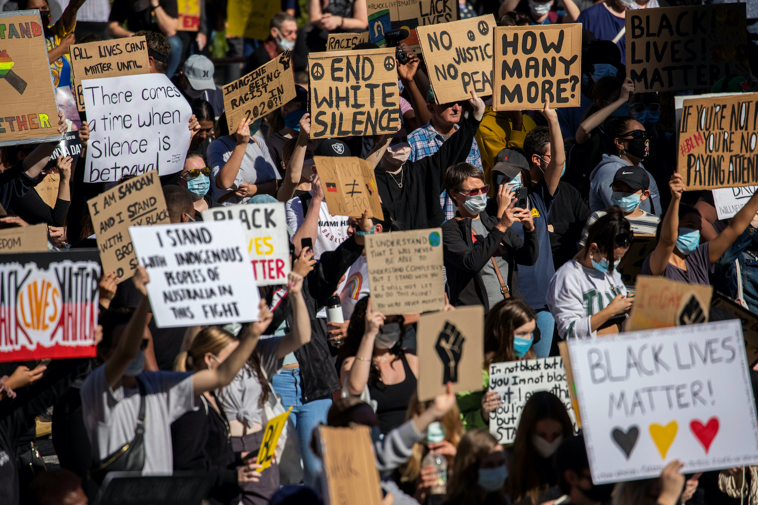 Protesters participate in a Black Lives Matter rally in Brisbane, Australia on Saturday. (AAP via Reuters)