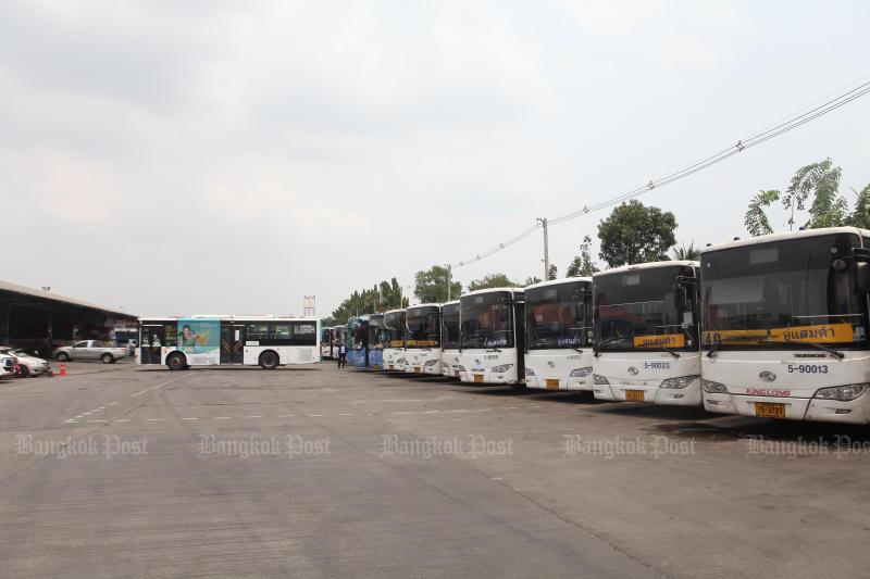 BMTA buses parked at a depot on Rama II Road. (File photo: Arnun Chonmahatrakool)