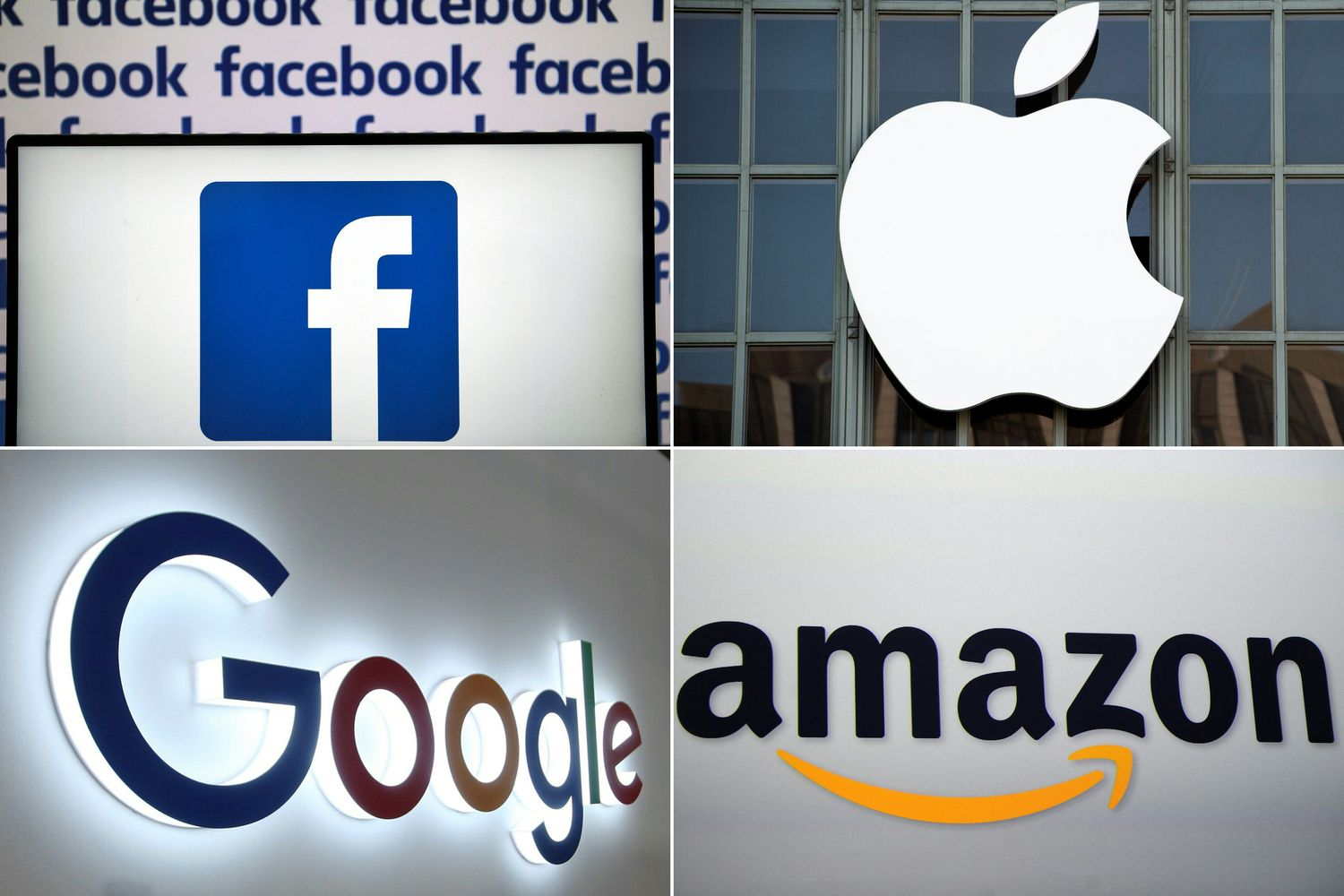 This file combination of pictures created on July 10, 2019 shows the logos of Big Tech. (AFP photo)