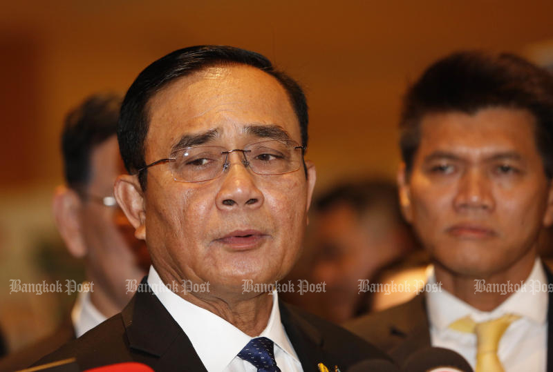 Prime Minister Prayut Chan-o-cha has put the brakes on a cabinet reshuffle push by factions within the ruling Palang Pracharath Party. (Bangkok Post file photo)