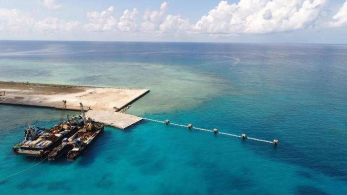 Philippine officials visit disputed South China Sea island
