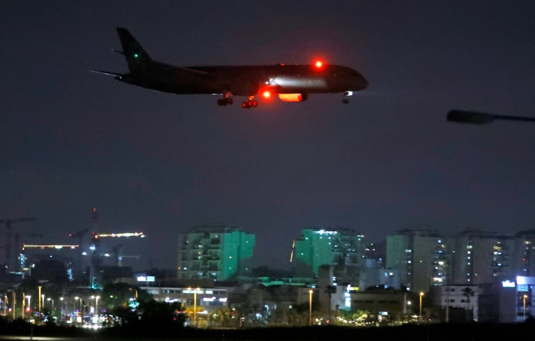 A cargo plane operated by Etihad Airways carrying medical aid to help Palestinians cope with the coronavirus pandemic prepares to land at Israel's Ben Gurion Airport near Tel Aviv on Tuesday.