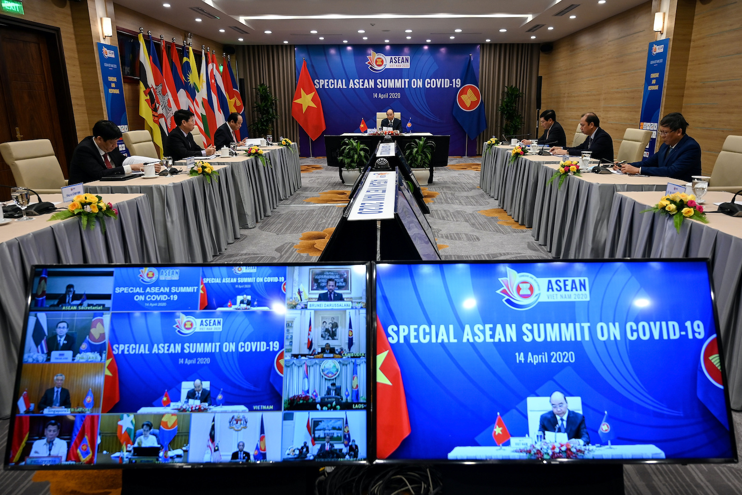 Vietnamese Prime Minister Nguyen Xuan Phuc addresses a video conference of Asean leaders on Covid-19 in April. Their annual summit later this month will also be a virtual one. (Reuters File Photo)