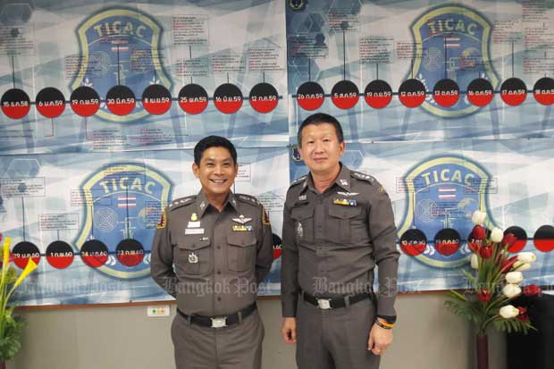 Pol Col Thakoon Nimsomboon, head of the Internet Crimes Against Children taskforce (left) poses for a photo with then Pol Col Soonthorn Arunnara, leader of the TICAC northeastern team, in 2017. (Bangkok Post photo)