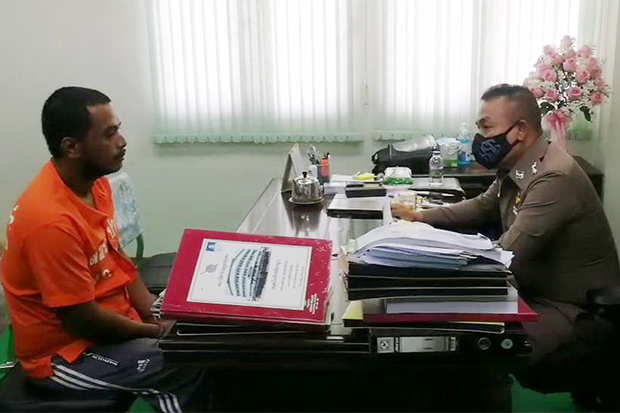 Police interrogate Udomchai Sukyoi at Thung Song police station after he was arrested for multiple motorcycle thefts. (Photo: Nujaree Raekrun)
