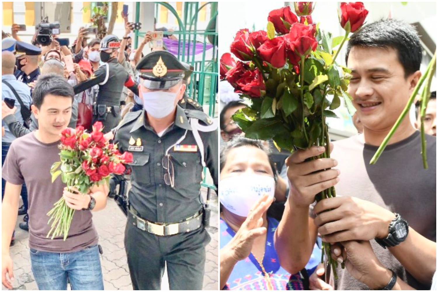 Sgt Narongchai Intarakawi is escorted to the Bangkok military court on Monday. Dozens of people came to give him moral support. (Photos by Wassana Nanuam)