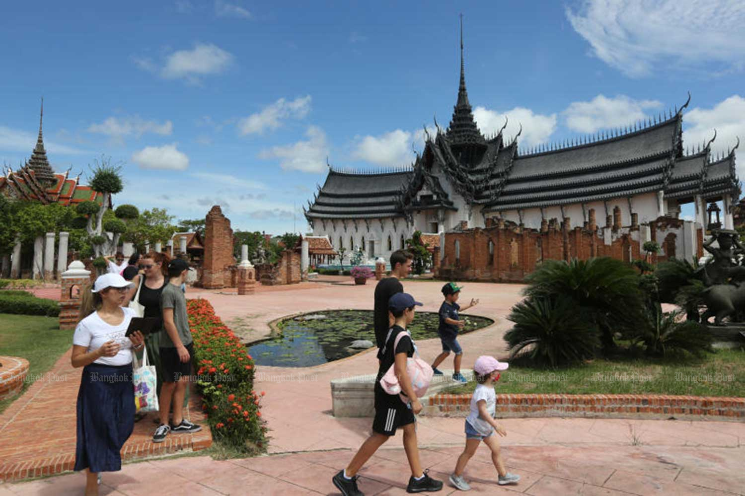 Visitors enjoy Muang Boran in Samut Prakan, after it reopened to tourists from June 1 as the government eased coronavirus lockdown restrictions. (Photo: Wichan Charoenkiatpakul)
