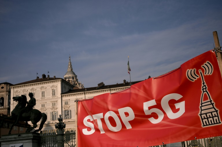 Protests against 5G mobile services, like this one in the northern city of Turin in Janaury, are just one of the worries operators are facing as they labour to introduce the technology in Italy