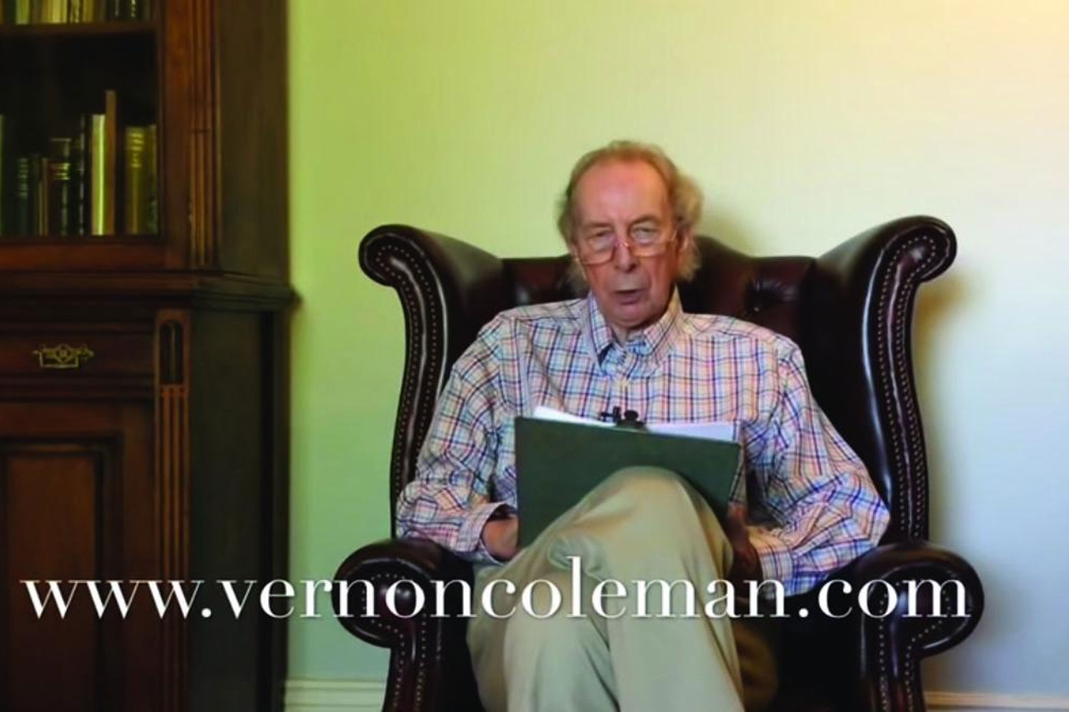 Vernon Coleman, a prolific author and doctor, is seen on a YouTube video clip.
